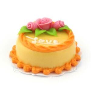 Puppenhaus Miniatur Orange Liebes- Kuchen Mit Pink Rosen