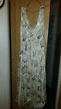 VINTAGE ? WEDDING /BRIDESMAID /PROM DRESS LONG FLOWY BEIGE BLACK  SILKY 42 CHEST