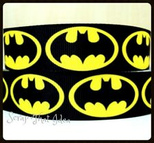 "Batman RIBBON. 7/8"" Printed Grosgrain. Scrapbooking/Craft. Superhero. LARGE LOGO"