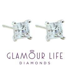 3 Ct Princess Diamond Earrings Studs Brilliant Screwback Solid 14K White Gold