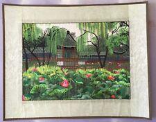 Chinese Needlepoint Garden Scene Tapestry