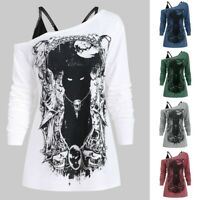 Womens Long Sleeve Sweatshirt Crew Neck Pullover Lady Cat T Shirt Blouse Tops