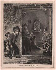 Children Late for School Again, antique engraving, print, original 1880
