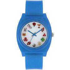 NEW TKO ORLOGI 1621140 Unisex Kids Youth Blue Emoji Icon Casual Plastic Watch