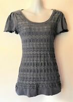METALICUS Top Tshirt Stretch Blue Grey Lace Frill Design Fitted Womens One Size