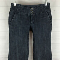 Maurices womens size 1/2 stretch blue dark wash bootcut trouser style jeans