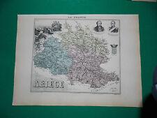 ARIEGE CARTE ATLAS MIGEON Edition 1885, Carte + fiche descriptive