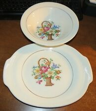 "9"" Salem Basket Petit Point Vegetable Serving Bowl + Platter EUC!!"