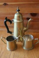 Brass Tea pot kettle Set Vintage with cream pitcher and sugar made in India