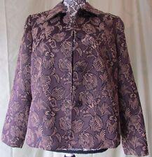 SAG HARBOR Women Petite Brown With Tan Floral Print Collard Button Up Jacket 10P