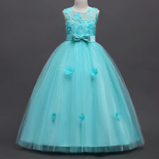 Flower Girl Dress Lace Long Formal Ball Gown for Kids Party Wedding Bridesmaid