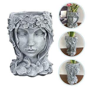 Girls Head Flowerpot Flower Planter Succulent Plant Pot Figure For Garden Decor