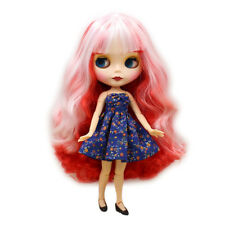 """12"""" Takara Blythe factory Nude Doll Red Mix White Hair Jointed Body Matte Face"""