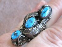 VINTAGE NAVAJO NATIVE AMERICAN TURQUOISE 925 STERLING SILVER TONY GUERRO RING