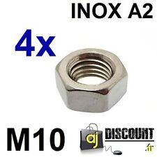 4x Ecrou hexagonal H (HU) - M10 - INOX A2 - DIN 934