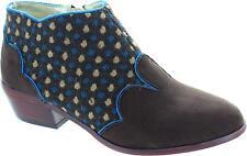 Ruby Shoo Juliette Women's Medieval Styled Brown Zip Up Low Heel Ankle Boots New