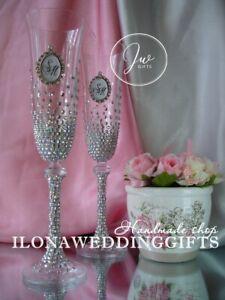 Swarovski Personalize Wedding Day Toast Wine Glass Sparkle Diamond Bling Elegant