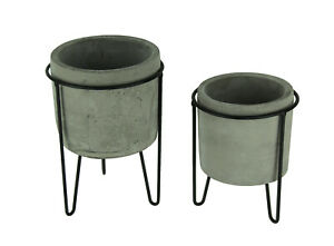 Modern Cement Planters in Black Metal Stands Set of 2