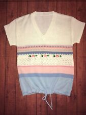 Vtg 80s Summer Knit Drawstring Sweater Pastels Size Small