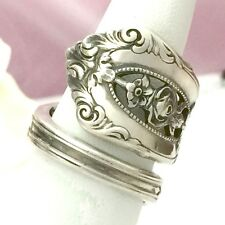 Sterling Silver Rose Spoon Ring ROSE POINT Silverware Jewelry,JUNE Flower
