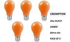5 X 25w GLS 25W Amber ES/E27 Crompton GLS 60mm DIA