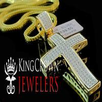 Mens Pave Charm Yellow Gold Silver Simu Diamond Cross Pendant & Chain Necklace