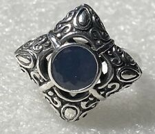 UNIQUE STERLING SILVER RING WITH LIGHT BLUE SEE THROUGH MIDDLE STONE SIZE 8