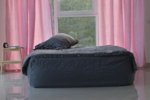DUVET COVER set & pillow with ruffle graphite color Stone Washed Seamless full