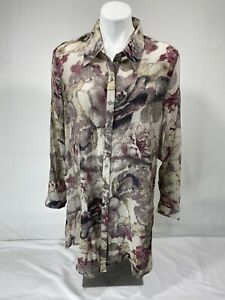 Soft Surroundings Womens XL Button Front Floral Long Sleeve Boho Tunic Top