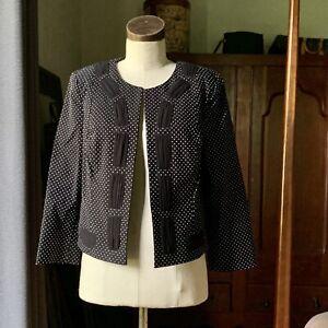 CABI Black White Polka Dot Blazer Jacket 5156 Size 8 NWOT