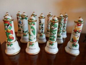 1992 Mercuries (USA) Twelve Days Of Christmas Ceramic Bell Set Of 12 Rare Lot