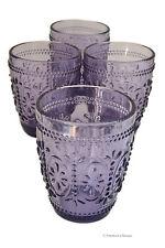Set 4 Embossed Vintage Depression Purple Double Old-Fashioned Whiskey Glasses