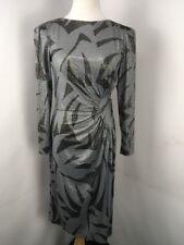 Rimini Black Silver Lame Polka Dot Geometric UNION MADE Ruched Mod GOGO Dress 10