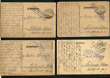 Feldpost WWI - Vier Karten aus Munster Lager  Lot 9  (JK-43)