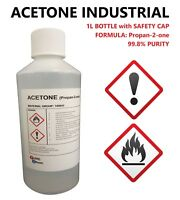 ACETONE 99.8% PURITY - FALSE NAIL REMOVER - SOLVENT CLEANER - DEGREASE 1L BOTTLE