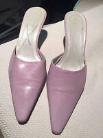 "BCBG Lavendar Leather Slides 2"" Heel Cute"