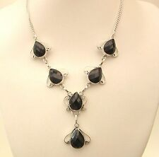 925 Sterling Silver Necklace With Natural Checker Board Faceted Onyx  (nk1700)