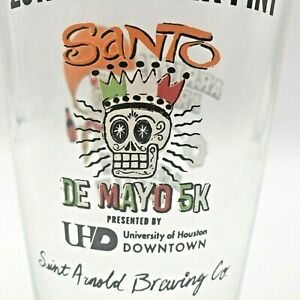 Saint Arnold Beer Glass Santo de Mayo 5K 2017 Day of the Dead Arriba! Andale!