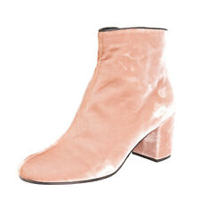 RRP €190 SOFIA M. Velour Ankle Boots Size 40 UK 7 US 10 Block Heel Made in Italy