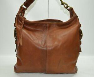 Rare COACH Bleecker Felicia Burnished Leather XL Slim Duffle Hobo Bag 11424