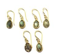 Pear Natural Labradorite 24k Gold Plated Prong Set Drop/Dangle Earring Jewelry