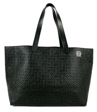 LOEWE $1,950 Black Anagram Logo Embossed Leather Shopper Tote Bag