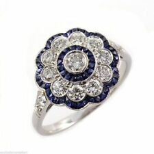 VINTAGE ART DECO 2.0CT WHITE & BLUE SAPPHIRE 925 STERLING SILVER ENGAGEMENT RING