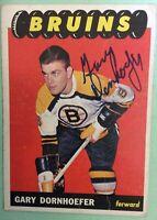 *SIGNED* GARY DORNHOEFER 1965-66 Topps #38 Hockey Card, Boston Bruins ~ VG/VGEX