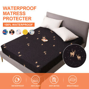 Printed Waterproof Mattress Protector 18in Deep Bed Pad Cover Easy Care All Size