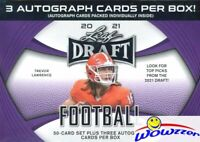 2021 Leaf Draft Football PREMUM HOBBY Factory Sealed Blaster Box-3 AUTOS+50 RC