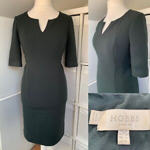 Hobbs Dark Green Pencil Dress Size 10 Office Occasion Smart Classic Fitted