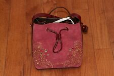 NWT $328 Michael Kors Cary Embellished Suede Bucket Crossbody Bag Maroon/Oxblood