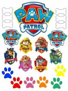 PAW PATROL FULL CAKE DECORATION SET including logo, badge, paw cake topper
