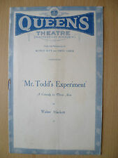 QUEEN'S THEATRE PROGRAMME- MR. TODD'S EXPERIMENT by Walter Hackett